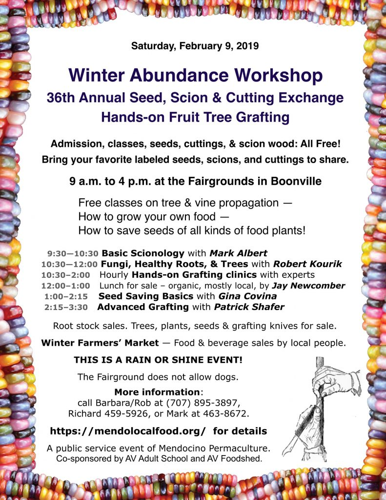 Winter Abundance Workshop 2019 January 9th at the Fairgrounds in Boonville!